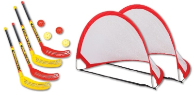 Fun hockey complete set with 2 x 2 set racket and pop up goal MINI set