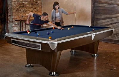 Pool Billardtisch Brunswick Gold Crown VI Skyline Walnuss 9 Fuß (9ft) Nickelleisten