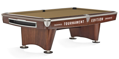Pool Billardtisch Brunswick Gold Crown VI TOURNAMENT EDITION,9 Fuß (9 ft.), Mahagony Nickel Trimm