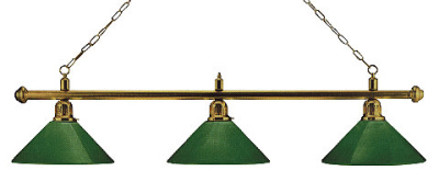 Billiard Lamp London 3 x Brass / Green