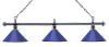 Billardlampe London 3-fach Chrom / Blau
