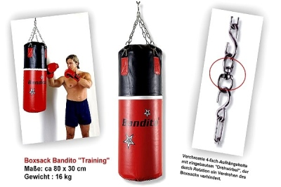 "Punching bag Bandito ""Training"" quality heavy faux leather version approx 80 x 30 cm"