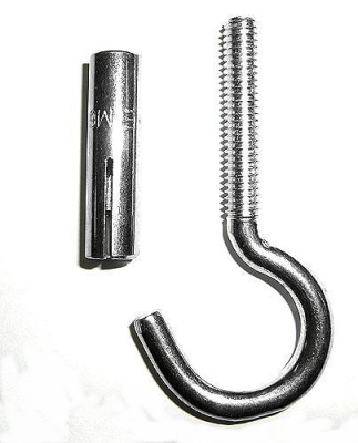 Ceiling hook with special metal dowel (M6) for fixation of punching bags in concrete slaps