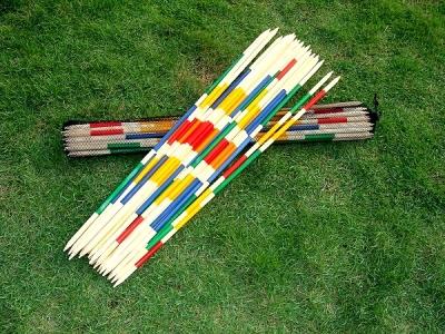 Riesen-Mikado, Länge ca. 95 cm, mit 25 Stäben, Set in Netztragetasche