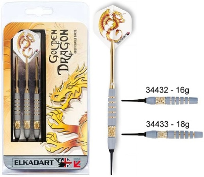 Dart arrow Set Elkadart Golden Dragon Softdart 16 18g