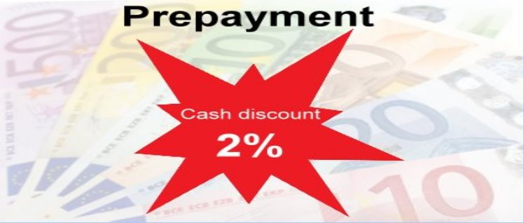 Payment in advance 2% discount